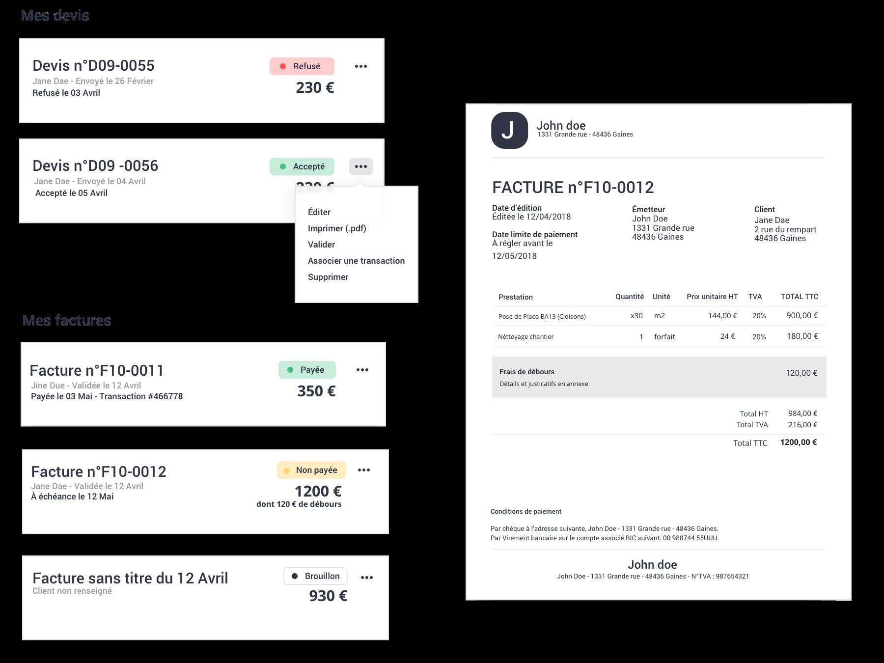 Fonctionnalité de Gest4u,logiciel en ligne de gestion comptable et commerciale pour indépandants et proféssions libérales -  facturation